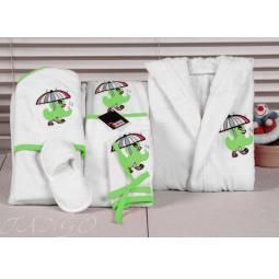 Купить Детский набор с вышивкой до 12 месяцев ( халат + банный набор) HLT036-1 Turkiz