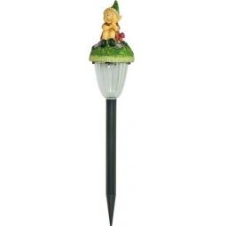 """Купить Светильник садово-парковый на солнечной батарее """"Гном на цветке"""", 1 белый LED, 78*78*430мм, GL88"""