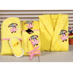 Купить Детский набор с вышивкой до 12 месяцев ( халат + банный набор) HLT036-4 Turkiz