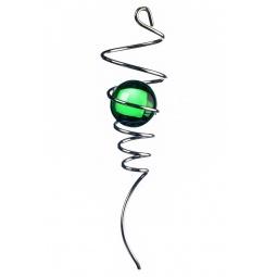 Купить Спиральный хвостик серебристый с зеленым шаром