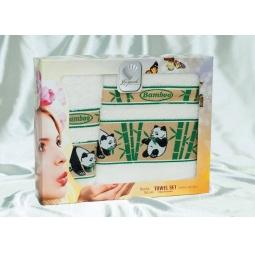 Купить Набор Бамбуковых полотенец Панды из 2х штук 50*90 см + 70*140 см plt020-6 Турция