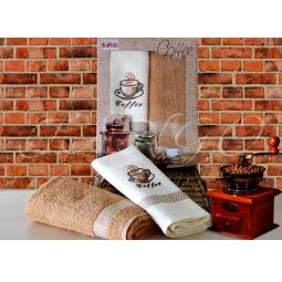 фото Набор кухонных полотенец из 2х штук с вышивкой Кофе 50*70 см plt126-1 Turkiz