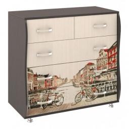 Купить Комод 'Мебель Трия' Тип 2 венге цаво/дуб молочный с цветным рисунком
