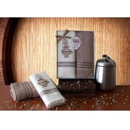 фото Набор кухонных полотенец из 2х штук с вышивкой Кофе 50*70 см plt126-8 Turkiz