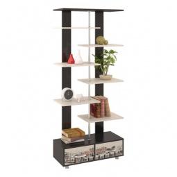 фото Стеллаж комбинированный 'Мебель Трия' Тип 7 венге цаво/дуб молочный с рисунком