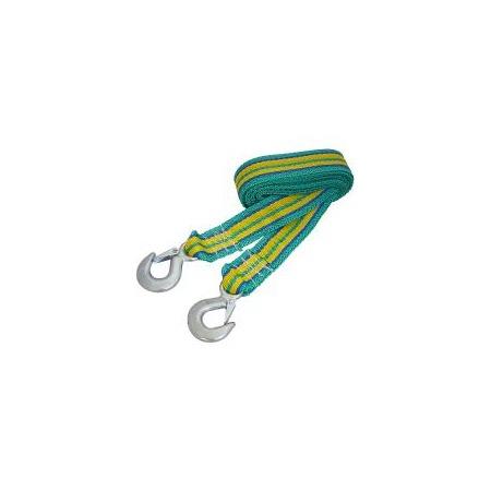 Купить Трос буксировочный ленточный с крюками 6 т, длина 4,5 м, в чехле (син./зелен./желт.)
