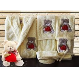 Купить Детский набор с вышивкой до 12 месяцев ( халат + банный набор) HLT037-4 Turkiz