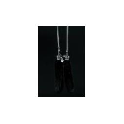 Купить Подвески для зеркала меховые (норка) на серебристой цепочке черные