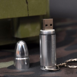 Купить Флешка-пуля  с гравировкой (серебряная) (8 ГБ)